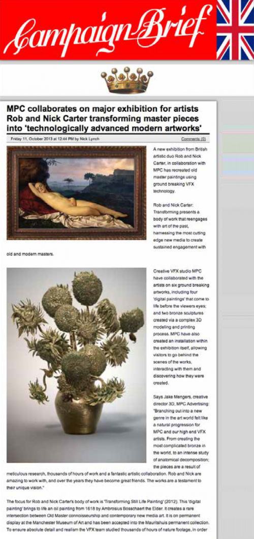 Rob and Nick Carter - Transforming masterpieces into 'technologically advanced modern artwork', Campaign Brief (online) · © Copyright 2020